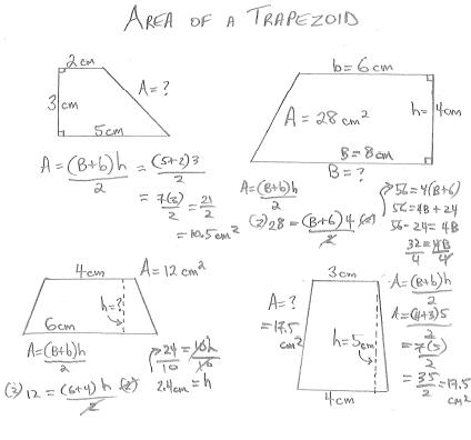 Area of a trapezoid exles