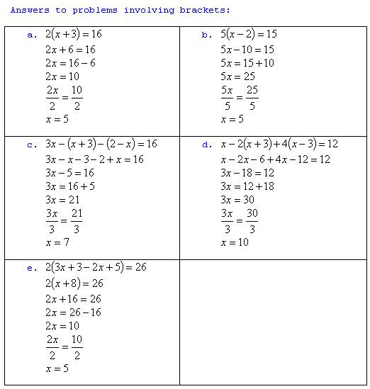 Algebra questions and answers