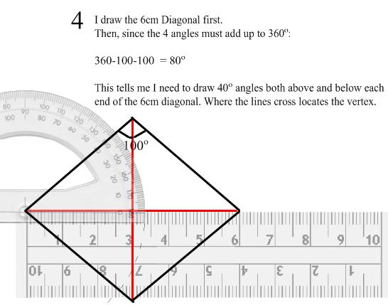 how to draw a rhombus with diagonals