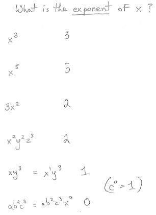 Freemathtutoring Exponent Of A Variable Examples Part Of The