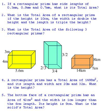 Freemathtutoring Total Area Of A Rectangular Prism