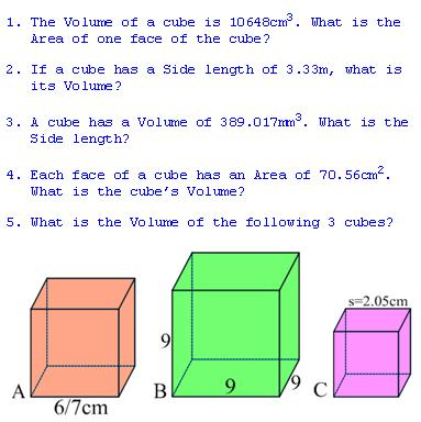 freemathtutoring - Volume of a Cube Exercises part of the ...
