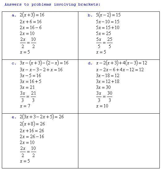 freemathtutoring - Basic Algebra Answers 4 brack part of ...