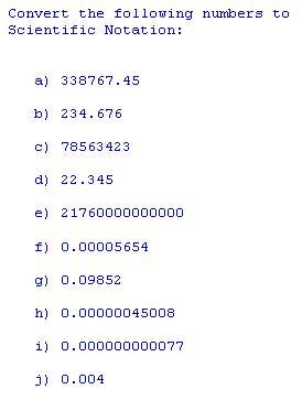 Freemathtutoring Scientific Notation Exercises Part Of