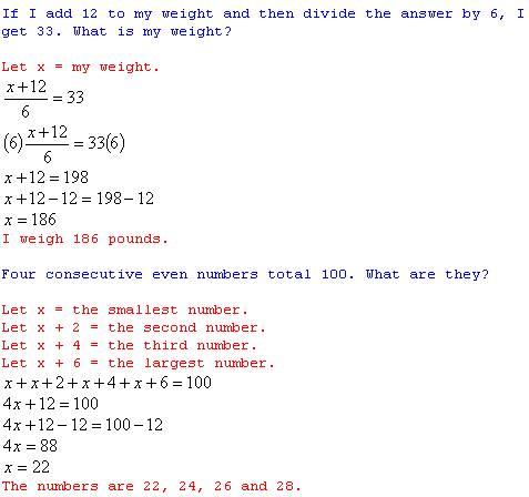 freemathtutoring   Algebra Word Problems Answers part of ...